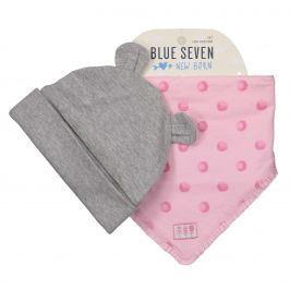 Blue Seven Dívčí set čepice a šátku - šedo-růžový