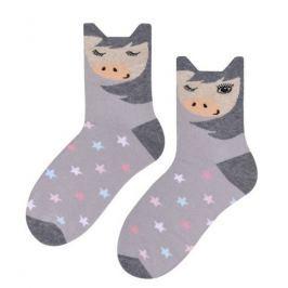 STEVEN Dívčí ponožky s hvězdičkami a zvířátkem - šedé