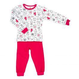 Makoma Dívčí pyžamo se zvířátky Miau - růžovo-bílé