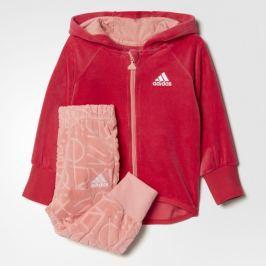 adidas Dívčí tepláková souprava Velour Hooded Jogger - růžová