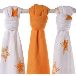 XKKO Bambusové pleny Stars 70x70 cm, 3ks - Orange MIX