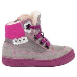 D.D.step Dívčí zateplené kotníkové boty s kytičkami - šedo-růžové