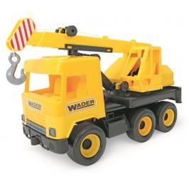 WADER Auto middle Truck jeřáb žlutý Stavební auta, bagry, jeřáby