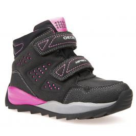 Geox Dívčí zimní boty Orizont - černo-růžové