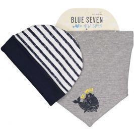 Blue Seven Chlapecký set čepice a šátku - šedo-bílý