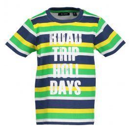 Blue Seven Chlapecké pruhované tričko s nápisem - modro-zelené