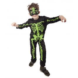 Rappa Karnevalový kostým kostlivec NEON dětský vel. S