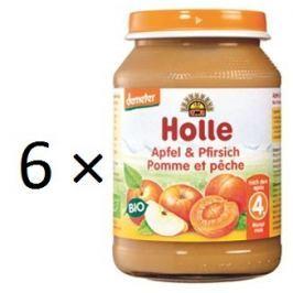 Holle BIO příkrm broskev a jablko 6x190g