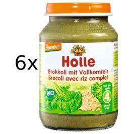 Holle BIO příkrm brokolice s celozrnnou rýží 6x190g
