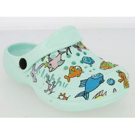 V+J Dětské sandály s rybkami - mentolové