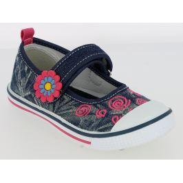 V+J Dívčí plátěné tenisky s kytičkou - modré