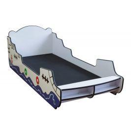 Homestyle4U Dětská postel Pirátská loď, 90x200 cm - bílá