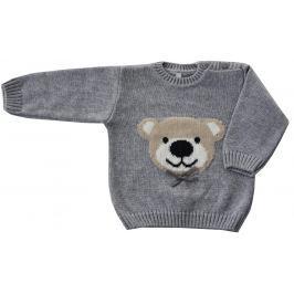 EKO Dívčí svetr s medvědem - šedý