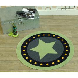 Hanse Home Dětský kulatý koberec Hvězda a puntíky, zelené