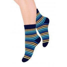 STEVEN Chlapecké proužkované ponožky - černé