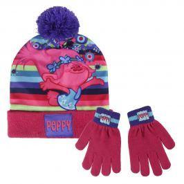 Disney Brand Dívčí set čepice a rukavic Trollové - růžový