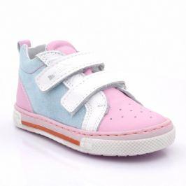 Ren But Dívčí celokožené kotníkové boty - růžovo-modré