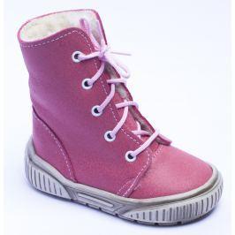 První krůčky Dívčí zimní boty s tkaničkami - růžové