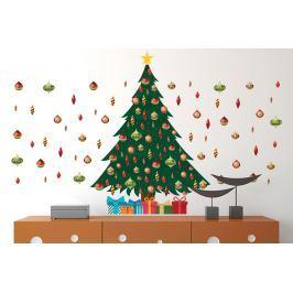 Walplus Samolepka na zeď - vánoční stromeček s ozdobami