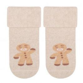 STEVEN Dětské vánoční ponožky s perníčkem - béžové