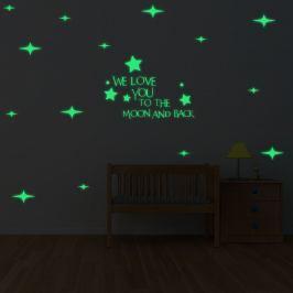 Walplus Svítící samolepka na zeď Hvězdy & We love you..