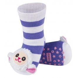 SOXO® Dívčí protiskluzové ponožky s ovečkou - fialovo-bílé