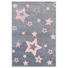 Happy Rugs Dětský koberec šedý s růžovými hvězdami, 100x160 cm