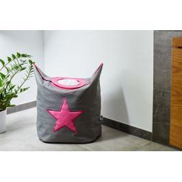 STORE !T Koš na prádlo s růžovou hvězdou - šedý, 60x55 cm
