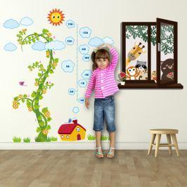 Walplus Samolepky na zeď Okno se zvířátky a metr kouzelná fazole, 210x160 cm