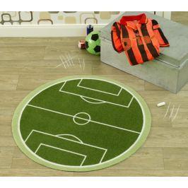 Hanse Home Dětský kulatý koberec Fotbalové hřiště, 100 cm - zelený