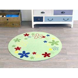Hanse Home Dětský kulatý koberec Kytičky, 100 cm - světle zelený