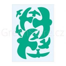 Ptačí siluety na sklo 9ks - zelené