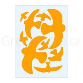 Ptačí siluety na sklo 9ks - oranžové