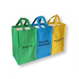 Sada 3 tašek na třídění odpadu - papír, plast, sklo