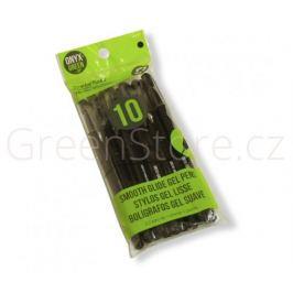 Gelová pera z recyklovaného plastu 10ks - černá náplň Onyx+Green