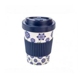 Woodway Kelímek na kávu z bambusu 300ml - Flowers Blue