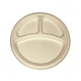 Kulatý talíř 3-dílný Natural 26cm z cukrové třtiny (50ks)