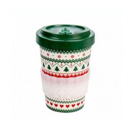 Woodway Kelímek na kávu z bambusu 400ml - Merry Christmas
