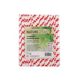 Papírová brčka ⌀6mm x 20cm - červené puntíky (100ks)