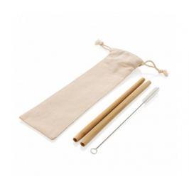 XD Design Sada 2ks bambusových brček, kartáčku, pytlíku