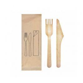 Příborový set dřevěný Vidlička+Nůž 16cm (100ks)