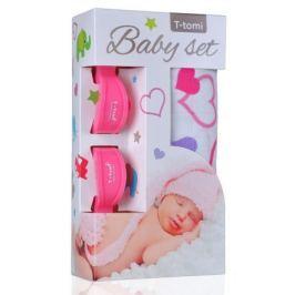 Baby set - bambusová osuška srdíčka+ kočárkový kolíček růžový Dárky pro rodiče