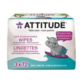 Vlhčené ubrousky Attitude bez vůně - výhodné balení (3 x 72 ks)