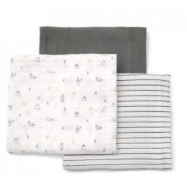 Mušelínové pleny 3 ks 90x90 cm šedé