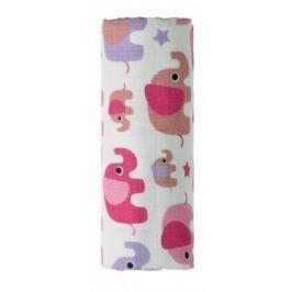 BIO Bambusová osuška, růžoví sloni 90x100 cm