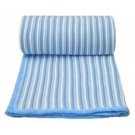 Pletená deka, bílo - modrá