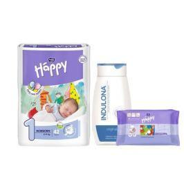 Bella Happy New Born dětské pleny 2-5 kg/42 ks + Indulona 250ml a ubrousky 24ks