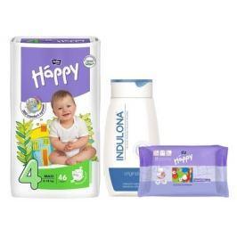 Happy Maxi dětské pleny 46 ks + Indulona 250ml a ubrousky 24ks