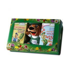 FYTO Dětská dárková kazeta s hračkou ovocný čaj Malina 20x2 g černý čaj bez kofeinu 20x1,5 g 1x1 set