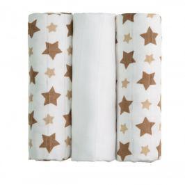 T-tomi BIO Bambusové pleny 70 x 70 cm 3 ks Beige stars / béžové hvězdičky